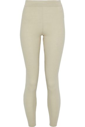 VINCE. Ribbed wool-blend leggings