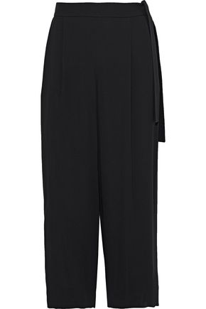 VINCE. Cropped pleated crepe wide-leg pants