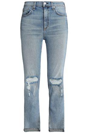 RAG & BONE Distressed high-rise slim-leg jeans