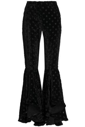 HOUSE OF HOLLAND Polka-dot devoré-chiffon flared pants