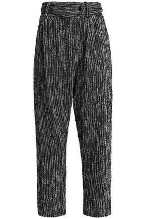 Cropped cotton-blend tweed wide-leg pants