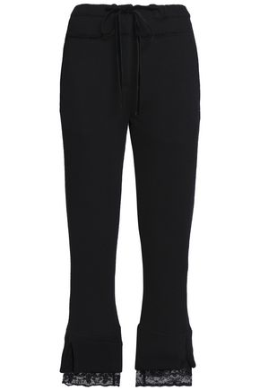 ANN DEMEULEMEESTER Lace-trimmed French cotton-terry tapered pants