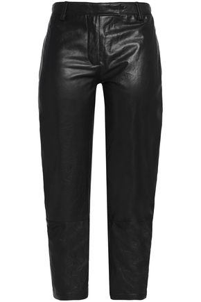 ANN DEMEULEMEESTER Leather tapered pants