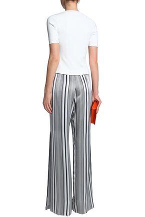 JONATHAN SIMKHAI Striped silk-satin wide-leg pants