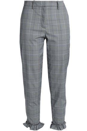 BAUM UND PFERDGARTEN Ruffle-trimmed Prince of Wales cotton-blend tapered pants
