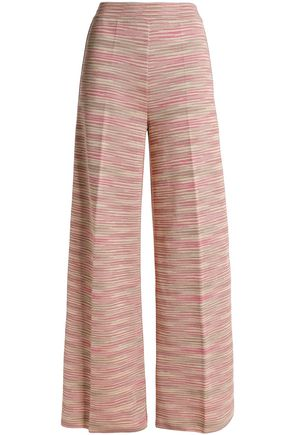 Striped knitted wide-leg pants