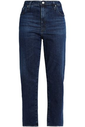 AG JEANS Faded high-rise straight-leg jeans