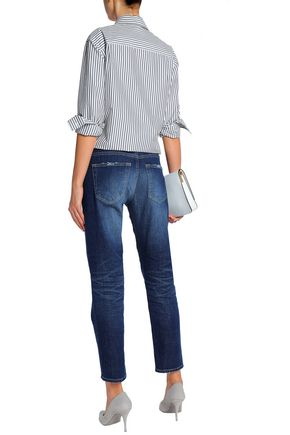 AG JEANS Distressed faded mid-rise straight-leg jeans