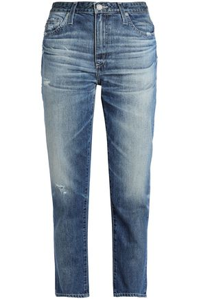 AG Jeans Distressed faded high-rise straight-leg jeans