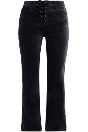 AG JEANS Lace-up velvet flared pants