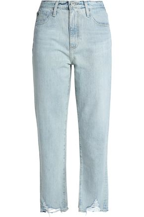 AG JEANS Distressed high-rise straight-leg jeans