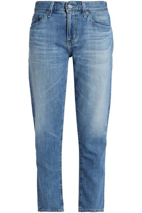 AG JEANS Faded mid-rise straight-leg jeans