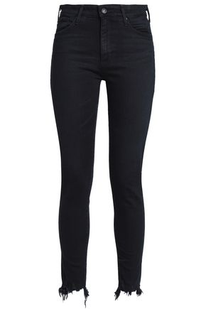 AG Jeans Leather-trimmed mid-rise skinny jeans