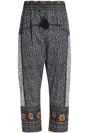 SEA Bead-embellished printed cotton harem pants