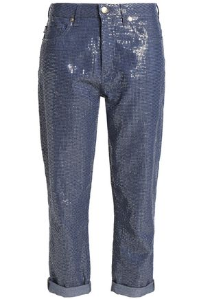 LOVE MOSCHINO Cropped sequin boyfriend jeans