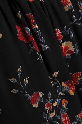 JOIE Floral-print silk-georgette straight-leg pants