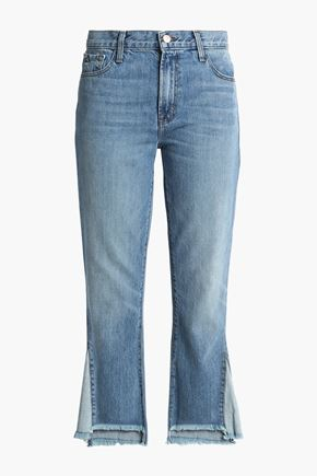 J BRAND Frayed high-rise straight-leg jeans