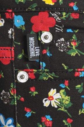 LOVE MOSCHINO Floral-print low-rise flared jeans