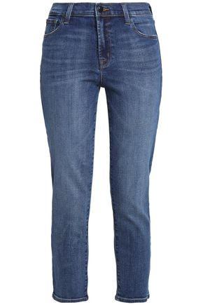 J BRAND Cropped faded high-rise slim-leg jeans