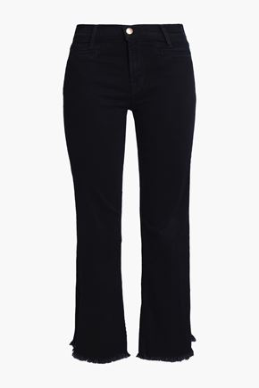 J BRAND Frayed high-rise bootcut jeans