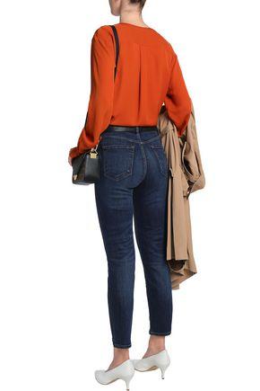 J BRAND Cropped distressed high-rise slim-leg jeans