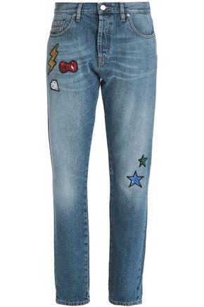 LOVE MOSCHINO Appliquéd faded mid-rise straight-leg jeans
