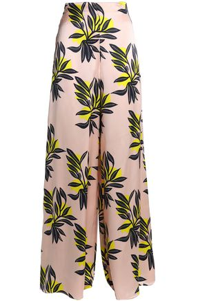 ROKSANDA Printed silk-satin wide-leg pants