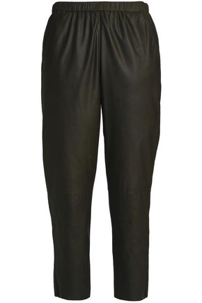 DROMe Cropped leather tapered pants