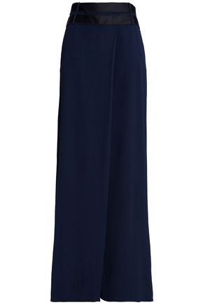 AMANDA WAKELEY Belted cady wide-leg pants