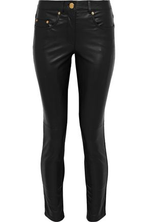 MOSCHINO Leather and stretch-knit skinny pants