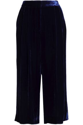 TIBI Cropped velvet wide-leg pants