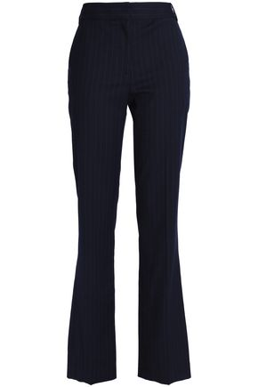 TIBI Pinstriped wool-blend flannel bootcut pants