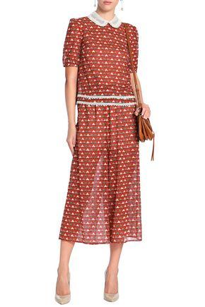 REDValentino Printed silk-blend crepe de chine culottes