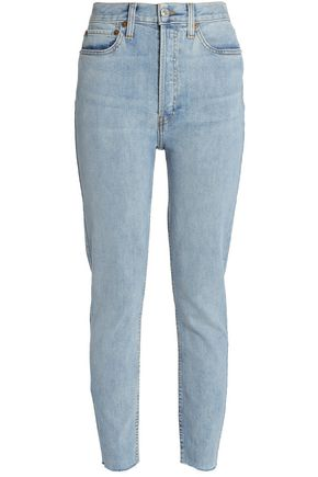 RE/DONE Distressed mid-rise slim-leg jeans