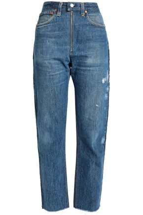 RE/DONE by LEVI'S Zip-detailed distressed high-rise straight-leg jeans