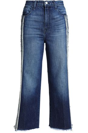 J BRAND Frayed two-tone high-rise straight-leg jeans