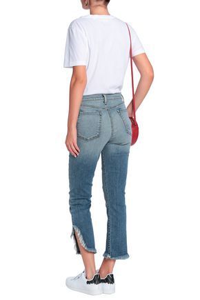 J BRAND Ruby distressed high-rise slim-leg jeans
