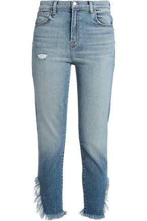 J BRAND Ruby distressed high-rise slim-leg jeans