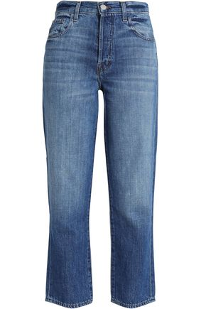 J BRAND Cropped faded boyfriend jeans