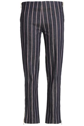 MAGGIE MARILYN Striped mid-rise straight-leg jeans