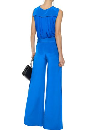 ADAM LIPPES Belted silk crepe de chine wide-leg pants