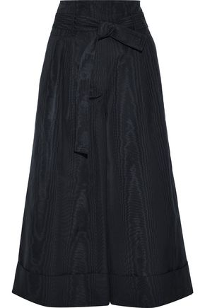 Tie-Front Pleated Cotton-Blend Moire Culottes