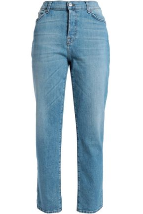7 FOR ALL MANKIND Faded high-rise straight-leg jeans