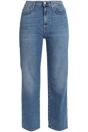 7 FOR ALL MANKIND Faded high-rise wide-leg jeans