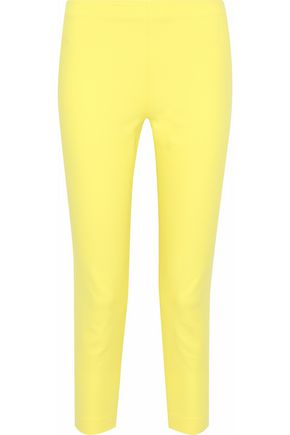 MOSCHINO Cropped neon cotton-blend poplin skinny pants