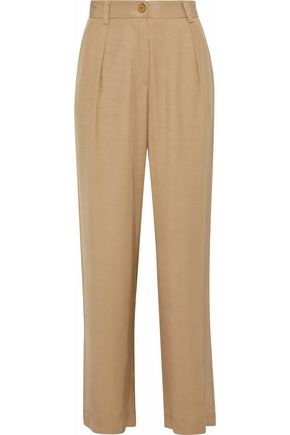 Glenn Pleated Twill Wide Leg Pants by Iris & Ink
