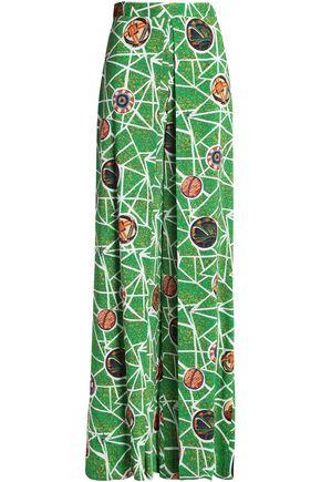 STELLA JEAN Pleated printed crepe wide-leg pants