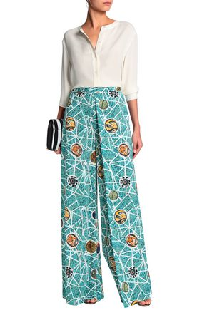 STELLA JEAN Pleated printed crepe wide-leg pants