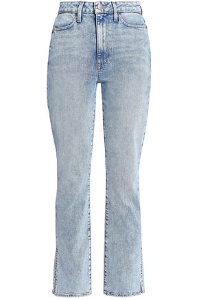 ALICE + OLIVIA Fabulous faded high-rise straight-leg jeans