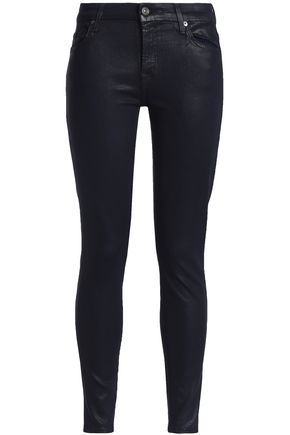 7 FOR ALL MANKIND Cropped coated mid-rise skinny jeans